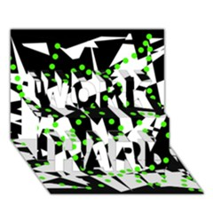 Black, white and green chaos WORK HARD 3D Greeting Card (7x5)