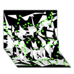 Black, white and green chaos Get Well 3D Greeting Card (7x5)
