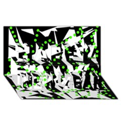Black, white and green chaos Happy New Year 3D Greeting Card (8x4)