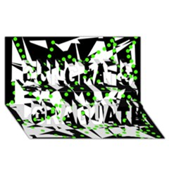 Black, white and green chaos Congrats Graduate 3D Greeting Card (8x4)