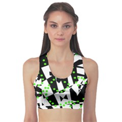 Black, white and green chaos Sports Bra