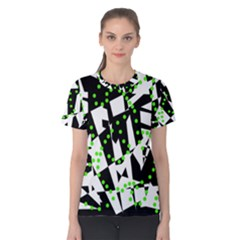 Black, white and green chaos Women s Cotton Tee