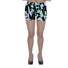 Black, white and green chaos Skinny Shorts