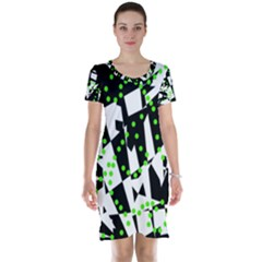 Black, white and green chaos Short Sleeve Nightdress