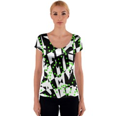 Black, white and green chaos Women s V-Neck Cap Sleeve Top