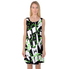 Black, white and green chaos Sleeveless Satin Nightdress
