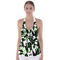 Black, white and green chaos Babydoll Tankini Top