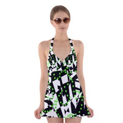 Black, white and green chaos Halter Swimsuit Dress