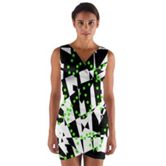 Black, white and green chaos Wrap Front Bodycon Dress