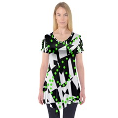 Black, white and green chaos Short Sleeve Tunic