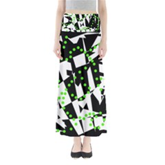 Black, white and green chaos Maxi Skirts