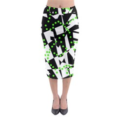 Black, white and green chaos Midi Pencil Skirt