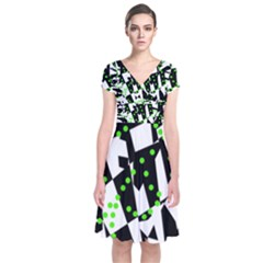 Black, white and green chaos Short Sleeve Front Wrap Dress