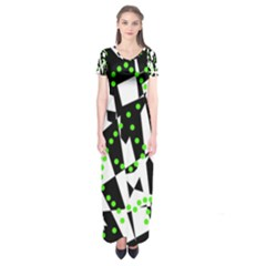 Black, white and green chaos Short Sleeve Maxi Dress