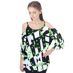 Black, white and green chaos Flutter Tees