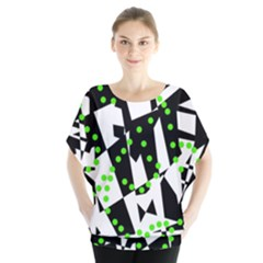 Black, white and green chaos Blouse