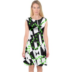 Black, white and green chaos Capsleeve Midi Dress