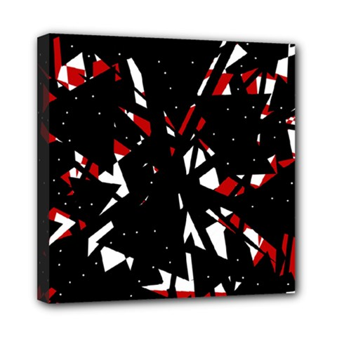Black, red and white chaos Mini Canvas 8  x 8