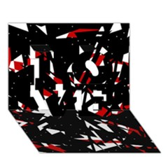Black, red and white chaos LOVE 3D Greeting Card (7x5)