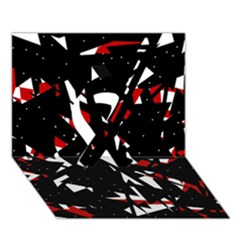 Black, red and white chaos Ribbon 3D Greeting Card (7x5)