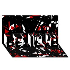 Black, red and white chaos BELIEVE 3D Greeting Card (8x4)