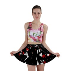 Black, red and white chaos Mini Skirt