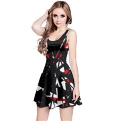 Black, red and white chaos Reversible Sleeveless Dress