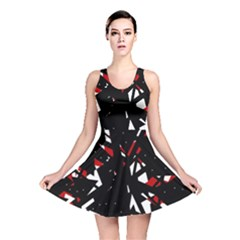 Black, red and white chaos Reversible Skater Dress