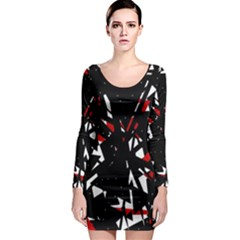 Black, red and white chaos Long Sleeve Bodycon Dress
