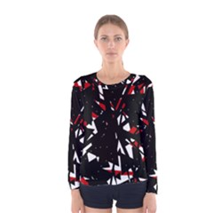 Black, red and white chaos Women s Long Sleeve Tee