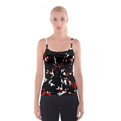 Black, red and white chaos Spaghetti Strap Top
