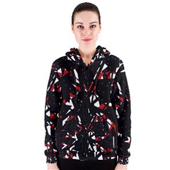 Black, red and white chaos Women s Zipper Hoodie