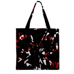 Black, red and white chaos Zipper Grocery Tote Bag