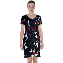 Black, red and white chaos Short Sleeve Nightdress