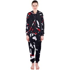 Black, red and white chaos Hooded Jumpsuit (Ladies)