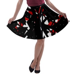 Black, red and white chaos A-line Skater Skirt