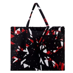 Black, red and white chaos Zipper Large Tote Bag