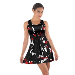 Black, red and white chaos Cotton Racerback Dress