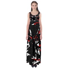 Black, red and white chaos Empire Waist Maxi Dress