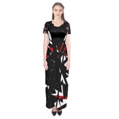Black, red and white chaos Short Sleeve Maxi Dress