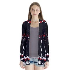 Black, red and white chaos Drape Collar Cardigan