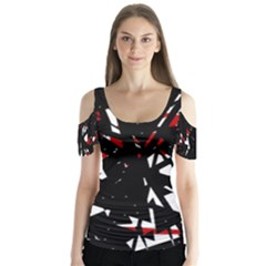 Black, red and white chaos Butterfly Sleeve Cutout Tee