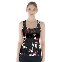 Black, Red And White Chaos Racer Back Sports Top