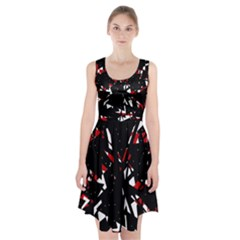 Black, red and white chaos Racerback Midi Dress