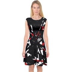 Black, red and white chaos Capsleeve Midi Dress