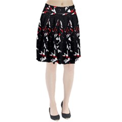 Black, red and white chaos Pleated Skirt
