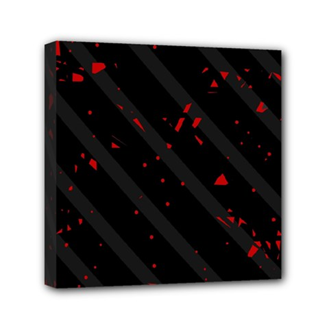 Black and red Mini Canvas 6  x 6