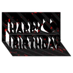 Black and red Happy Birthday 3D Greeting Card (8x4)
