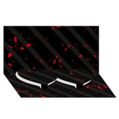 Black and red Twin Heart Bottom 3D Greeting Card (8x4)