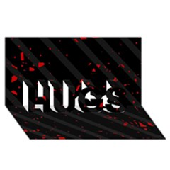 Black and red HUGS 3D Greeting Card (8x4)